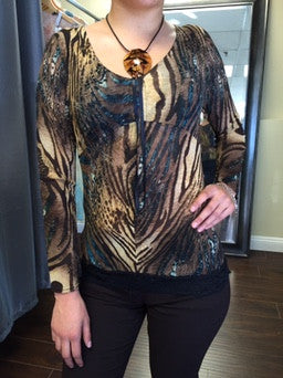 Blouse, Lace and Organza animal print - natural italian skincare www.MilanoCoronado.com