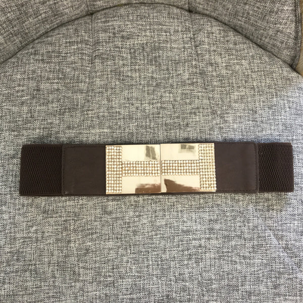 Belt, Brown with metal clasp and rhinestones - natural italian skincare www.MilanoCoronado.com