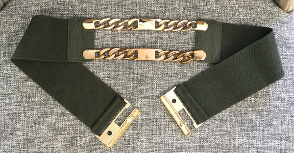 Belts, Green with gold color chain - natural italian skincare www.MilanoCoronado.com