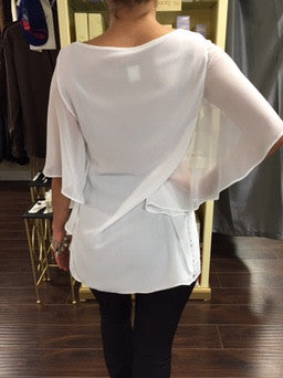 Blouse, white Le Group with cut through pattern - natural italian skincare www.MilanoCoronado.com