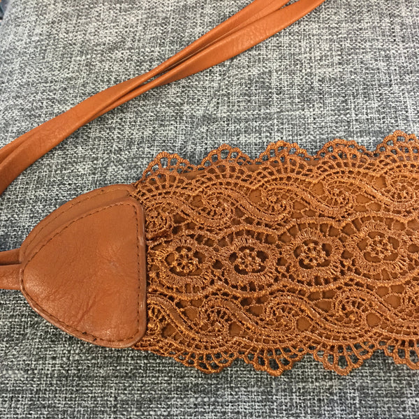 Belt, Orange Synthetic Lace - natural italian skincare www.MilanoCoronado.com