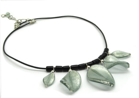 Murano Glass necklace with leaves, grey-light blue - natural italian skincare www.MilanoCoronado.com
