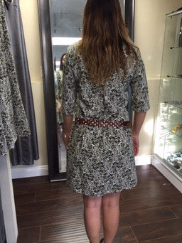 Dress, green and brown print with Demi sleeves - natural italian skincare www.MilanoCoronado.com