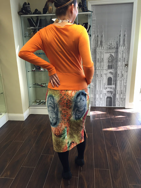 Blouse, Orange with decor - natural italian skincare www.MilanoCoronado.com
