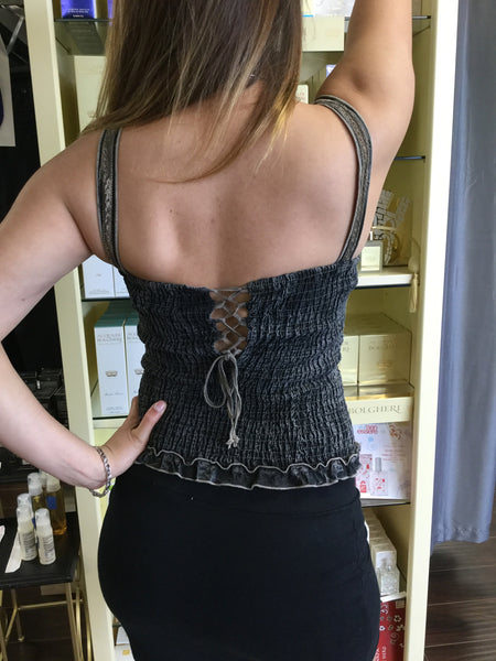Top, Distressed Black and Taupe Bustier look alike tank - natural italian skincare www.MilanoCoronado.com