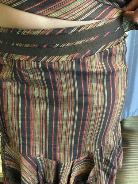 Skirt, brown, orange and red stripes, detail on the waist - natural italian skincare www.MilanoCoronado.com