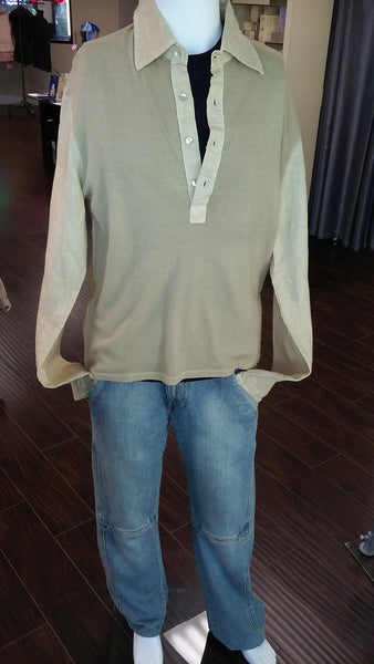 Man polo shirt , V Neck, Lacqu model, woven linen and knit cotton - natural italian skincare www.MilanoCoronado.com