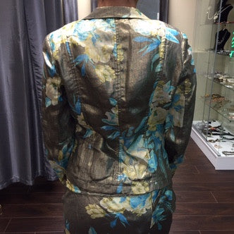 Jacket, Laminated Bronze with floral pattern - natural italian skincare www.MilanoCoronado.com