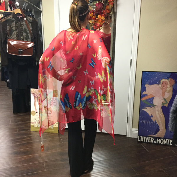 Poncho, Red with colorful butterflies - natural italian skincare www.MilanoCoronado.com