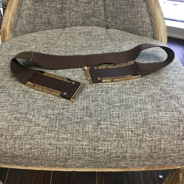 Belt, Brown with Gold Metal Plate - natural italian skincare www.MilanoCoronado.com