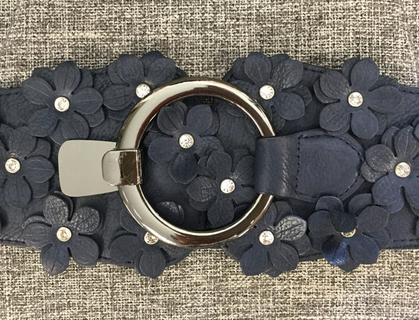 Belt, Blue with Eco leather flowers on clasp - natural italian skincare www.MilanoCoronado.com