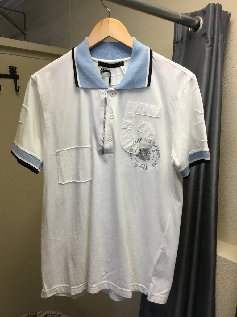 Polo, white with light blue collar, short sleeves - natural italian skincare www.MilanoCoronado.com