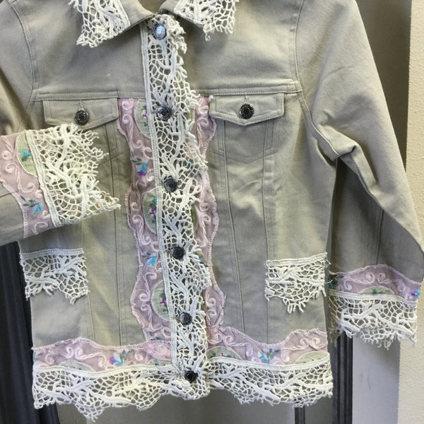 Jacket, Beige botton Jeans embroidery with half length sleeves - natural italian skincare www.MilanoCoronado.com