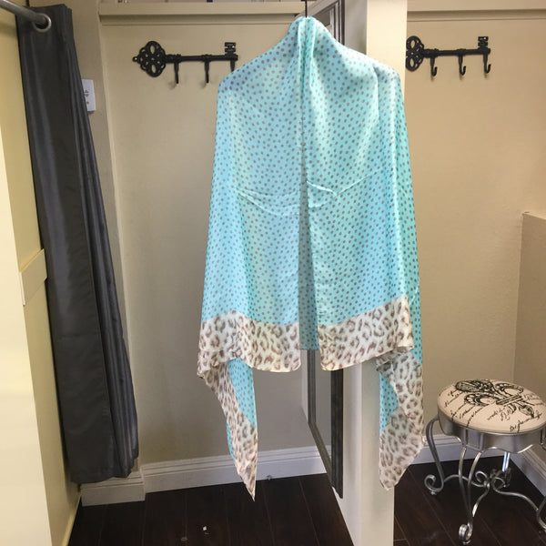 Shawl, Light Turquoise, Polka Dots, Animal Print Border - natural italian skincare www.MilanoCoronado.com