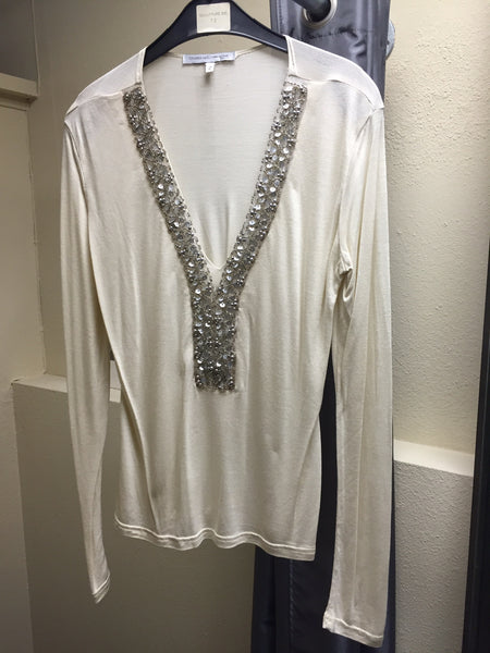 Blouse, Ivory with silver paillettes decor - natural italian skincare www.MilanoCoronado.com