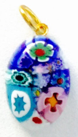 Millefiori Murano Glass pendant, small oval, blue and multicolor - natural italian skincare www.MilanoCoronado.com