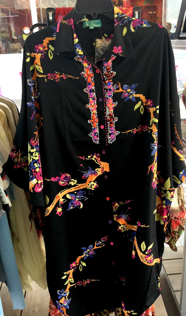 Dress, Black and multicolor, floral details, beads and embroidery, AS2116738 - natural italian skincare www.MilanoCoronado.com