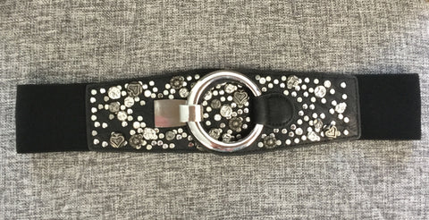 Belt, Black with queen of hearts details near clasp - natural italian skincare www.MilanoCoronado.com