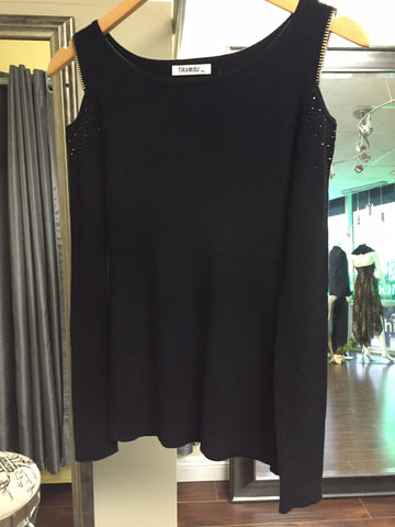 Black blouse with crystals and shoulder cut out - natural italian skincare www.MilanoCoronado.com
