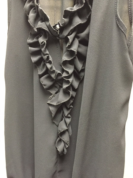 Top, Grey with Ruffles - natural italian skincare www.MilanoCoronado.com