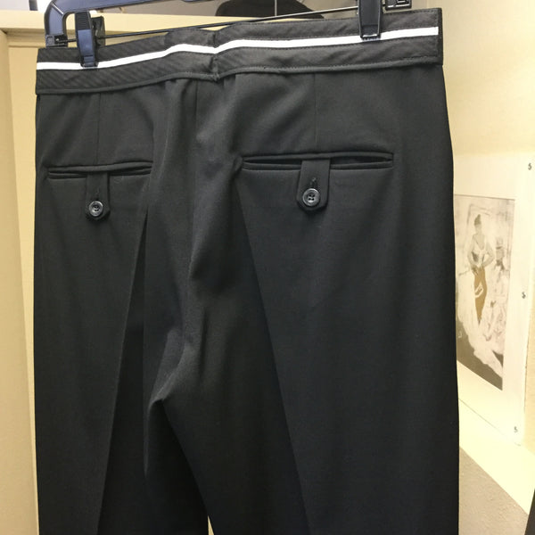 Pants, black, classic with black and white brand detail on the back - natural italian skincare www.MilanoCoronado.com