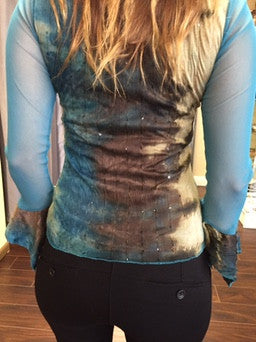 Blouse with lace and sequins, turquoise, green and brown - natural italian skincare www.MilanoCoronado.com