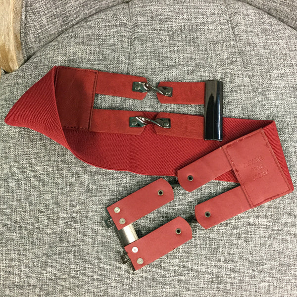 Belt, Red with Metal detail - natural italian skincare www.MilanoCoronado.com