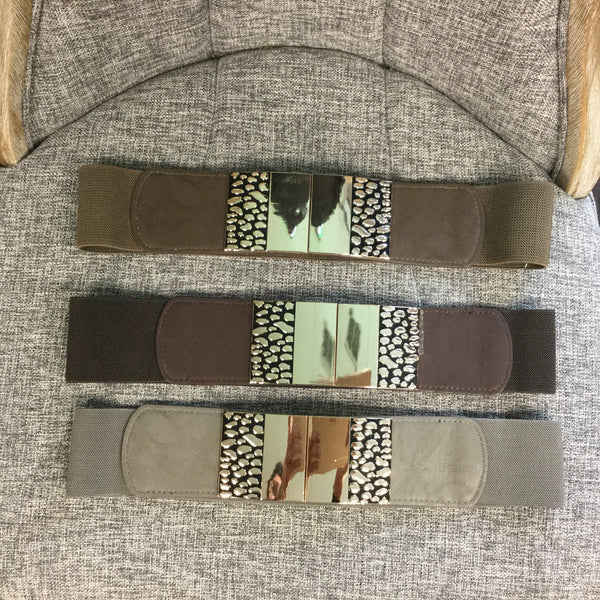Belts, Beige Metal Plate with Animal Design - natural italian skincare www.MilanoCoronado.com