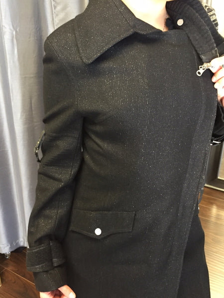 Designer coat, glittery black wool and detachable collar - natural italian skincare www.MilanoCoronado.com