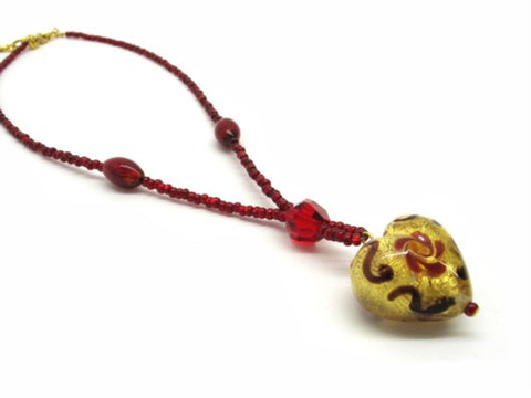 Heart shaped Murano Glass necklace , red, Giulia model - natural italian skincare www.MilanoCoronado.com