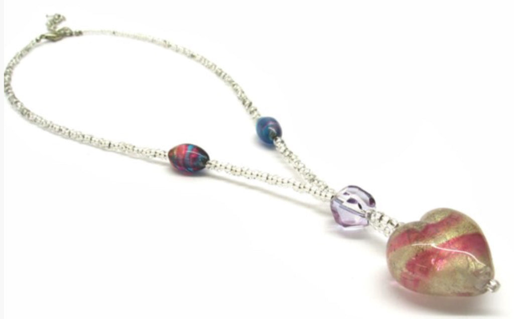 Heart shaped Murano Glass necklace , pink, Giulia model - natural italian skincare www.MilanoCoronado.com