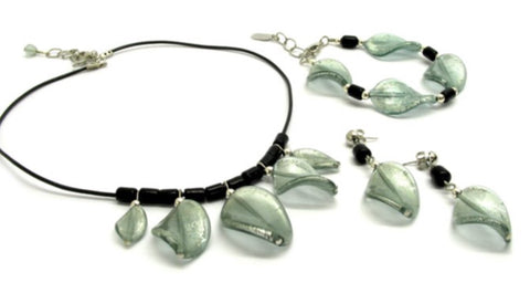 Murano Glass Parure with leaves, grey-light blue - natural italian skincare www.MilanoCoronado.com