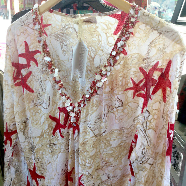 Dress, ocean pattern, ecru with red starfishes, AS2115C028 - natural italian skincare www.MilanoCoronado.com