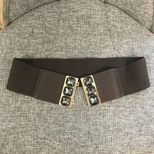 Belt, Brown with Gray Crystals - natural italian skincare www.MilanoCoronado.com