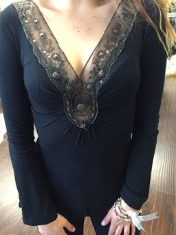 Blouse, black with lace, beads and round decors - natural italian skincare www.MilanoCoronado.com