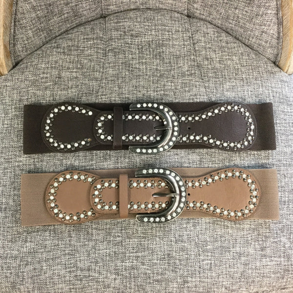 Belt, Brown Buckle with Crystals - natural italian skincare www.MilanoCoronado.com