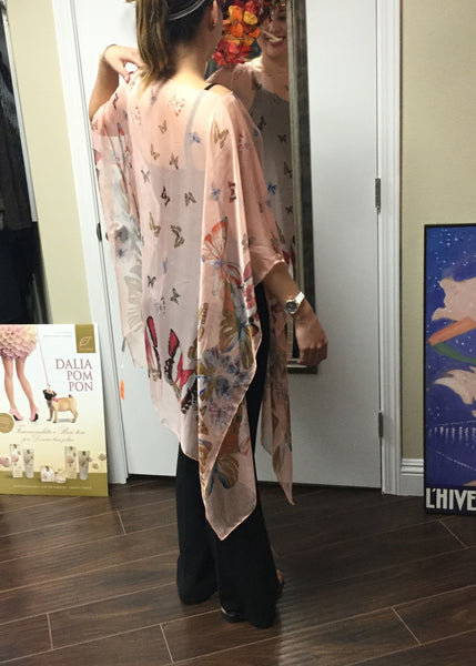 Poncho, Pink with colorful butterflies - natural italian skincare www.MilanoCoronado.com
