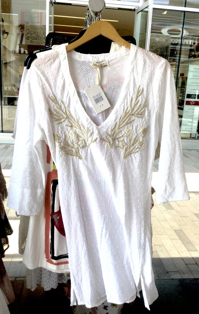 Dress, white with beige embroidery, AS2115C811 - natural italian skincare www.MilanoCoronado.com
