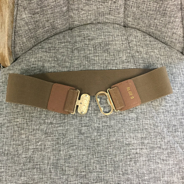 Belt, Taupe Elastic with Gold Oval Clutch - natural italian skincare www.MilanoCoronado.com