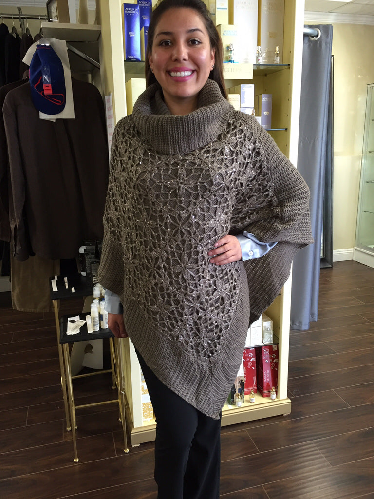 Poncho, Beige sequins in front with turtleneck - natural italian skincare www.MilanoCoronado.com