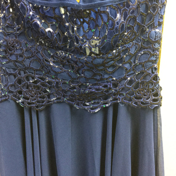 Dress, Blue with sequins asymmetrical cut - natural italian skincare www.MilanoCoronado.com
