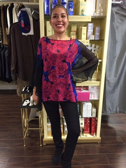 Blouse, 2 pieces, black Le Group with fuchsia roses and blue leaves - natural italian skincare www.MilanoCoronado.com