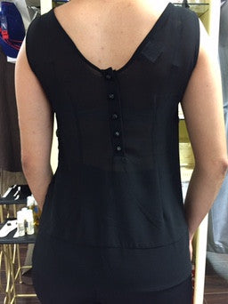 Blouse, black Le Group with cut through Heart pattern - natural italian skincare www.MilanoCoronado.com