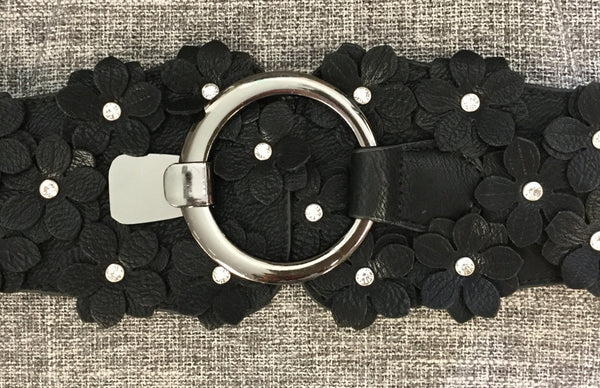 Belt, Black with Eco leather flowers on clasp - natural italian skincare www.MilanoCoronado.com