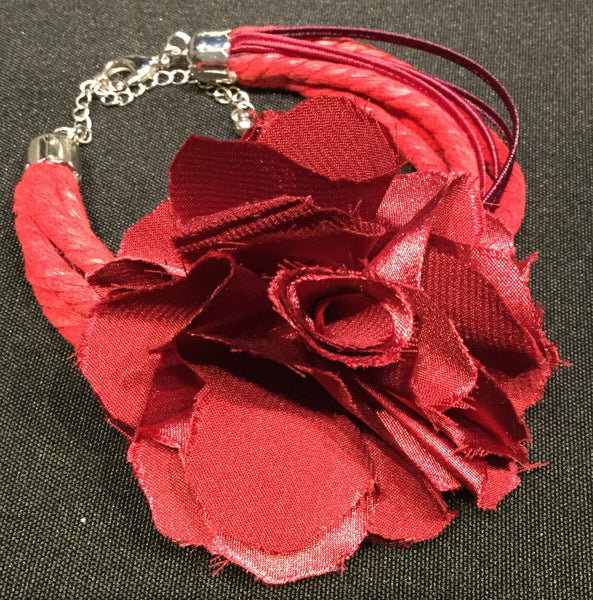 Bracelet, Red and purple with rose, Grindelia, matches Betta Necklace - natural italian skincare www.MilanoCoronado.com