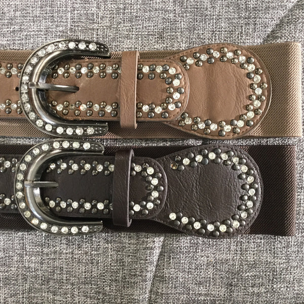 Belt, Beige Buckle with Crystals - natural italian skincare www.MilanoCoronado.com