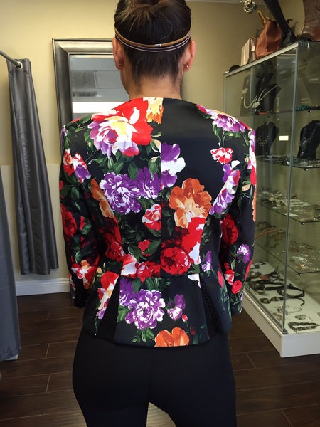 Jacket, Roses half sleeve with zipper - natural italian skincare www.MilanoCoronado.com