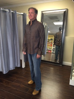 Man Shirt, brown Fitted - natural italian skincare www.MilanoCoronado.com