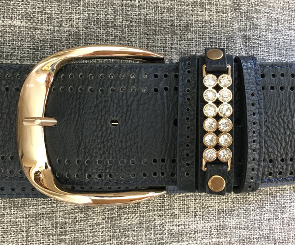 Belt, Blue with crystals near buckle - natural italian skincare www.MilanoCoronado.com