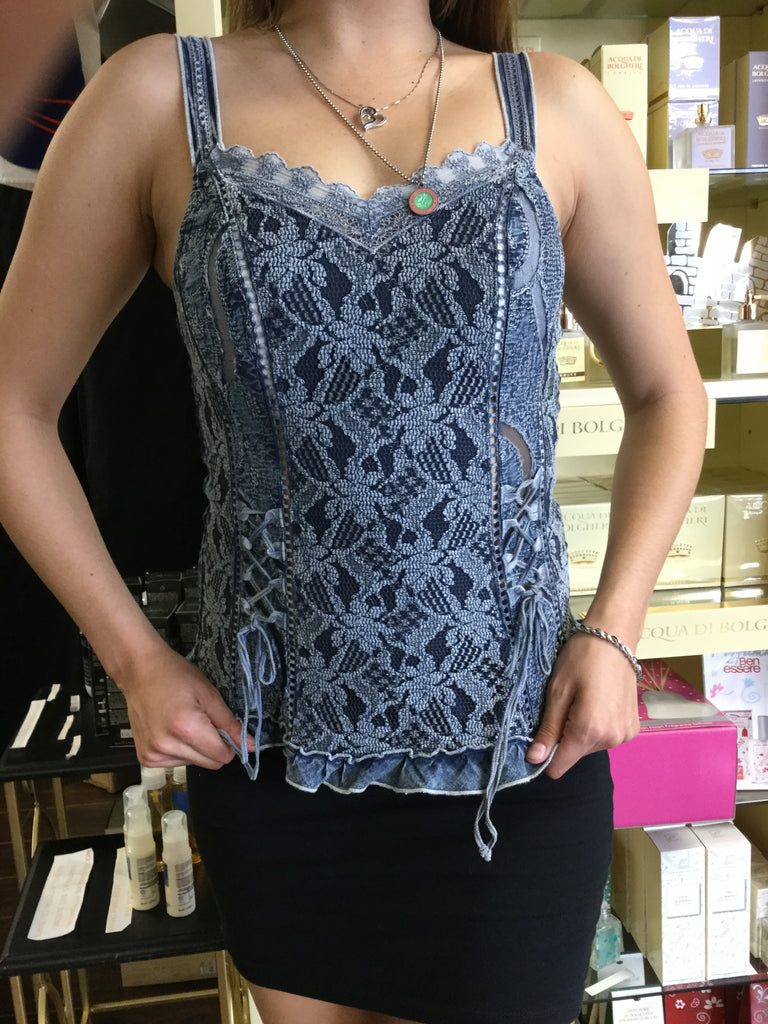 Top, Jeans Blue color, Bustier look alike tank - natural italian skincare www.MilanoCoronado.com